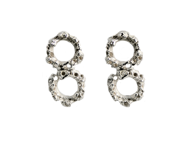 Round Reef Silver Drop Earrings - Leniquelouis-jewellery-london-based-designer-handmade-in-england-uk