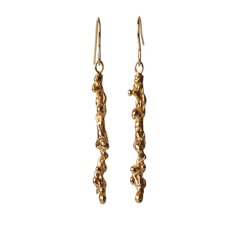 Gold Spine Hoop Earrings