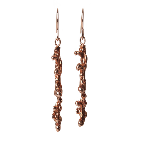 Small OXIDISED Silver Spine earrings