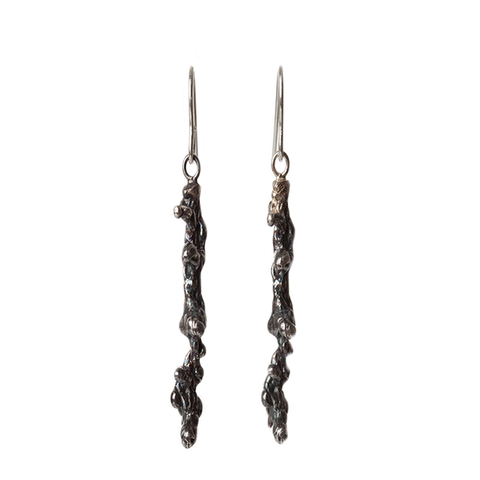 Round Reef Silver Drop Earrings