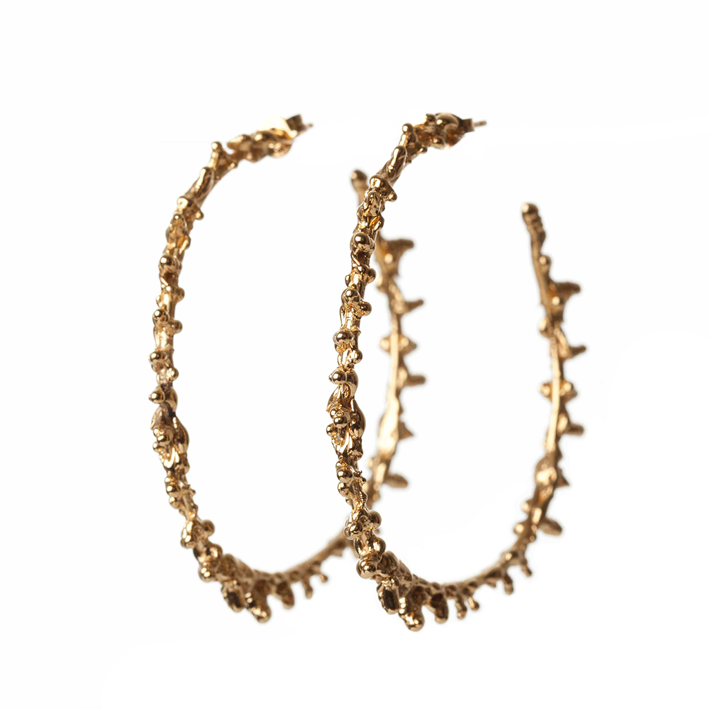 Gold Spine Hoop Earrings - Lenique Louis