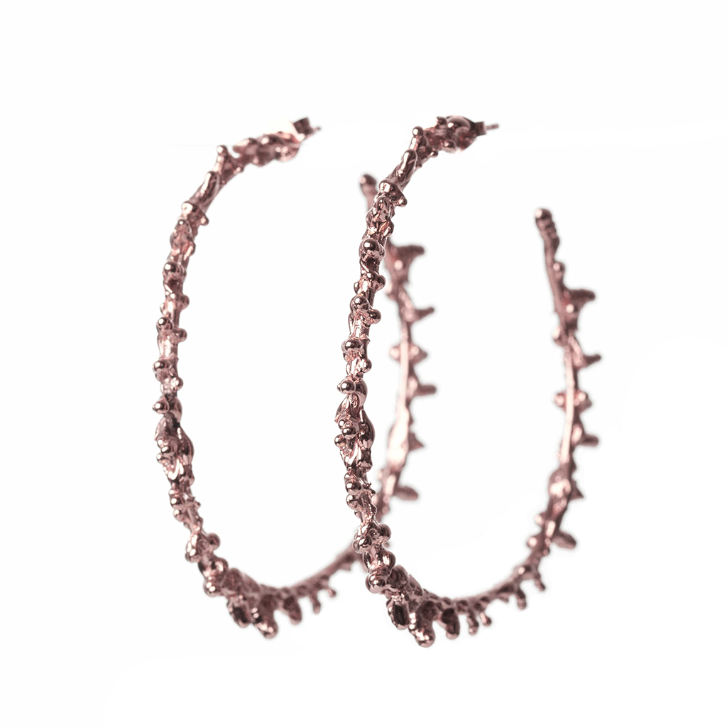 Rose Spine Hoop Earrings - Leniquelouis-jewellery-london-based-designer-handmade-in-england-uk