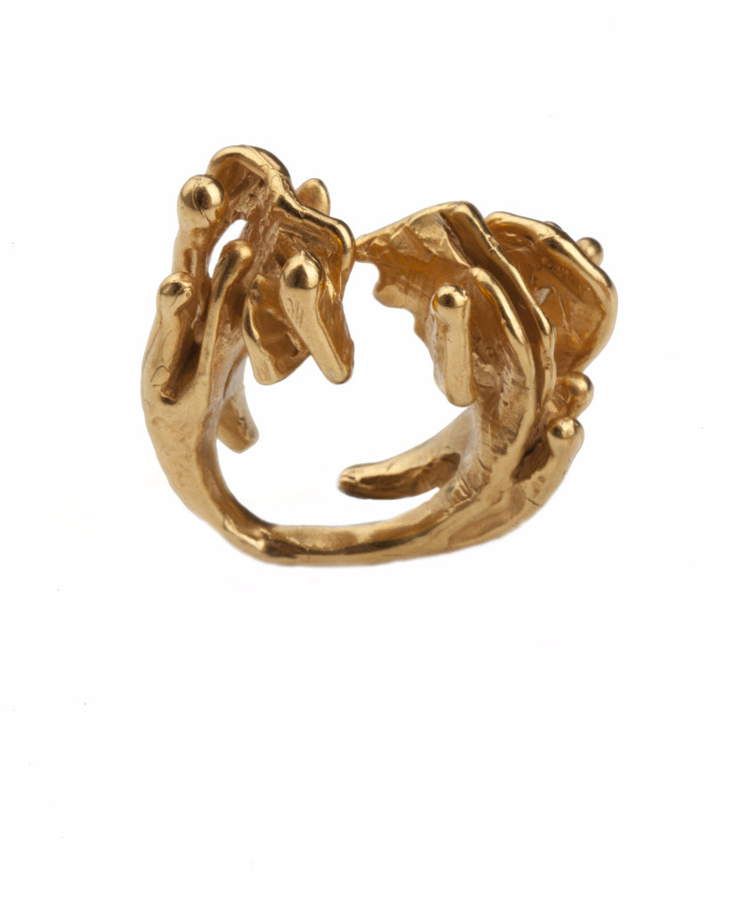 Handcrafted Organic Statement Eclipse 18ct Gold Vermeil Ring|Made ...
