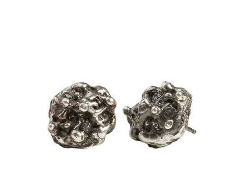 Round Reef Silver Stud Earrings