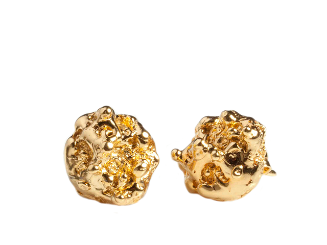 Small Gold Spine Stud earrings - Leniquelouis-jewellery-london-based-designer-handmade-in-england-uk