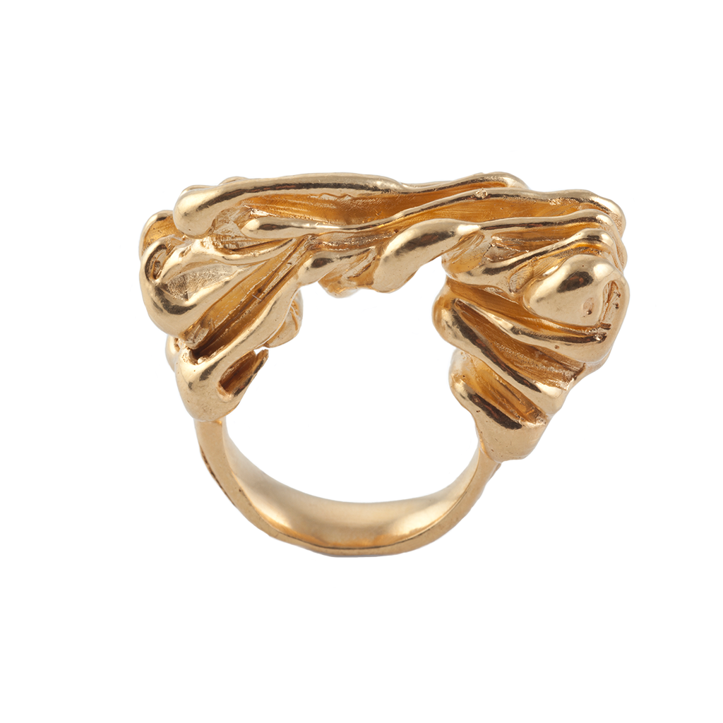 Sea Wave Gold Ring - Leniquelouis-jewellery-london-based-designer-handmade-in-england-uk