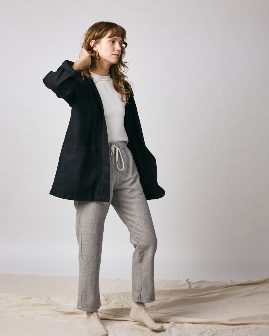 Haori Coat - Organic Black Cotton Canvas