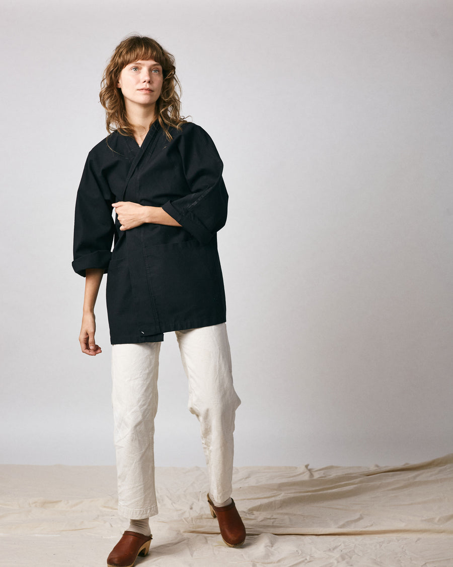 Haori Coat - Black Hemp Canvas