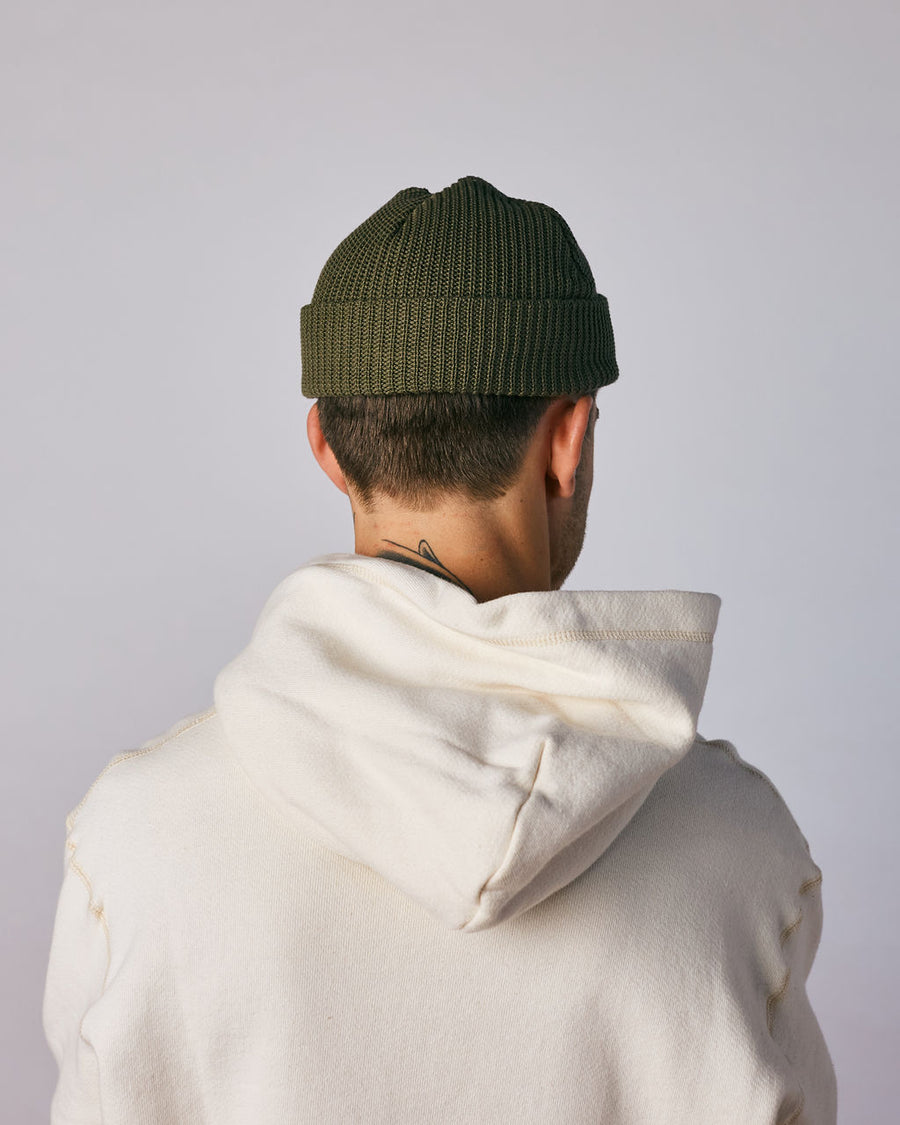 Cotton Knit Beanie - Olive