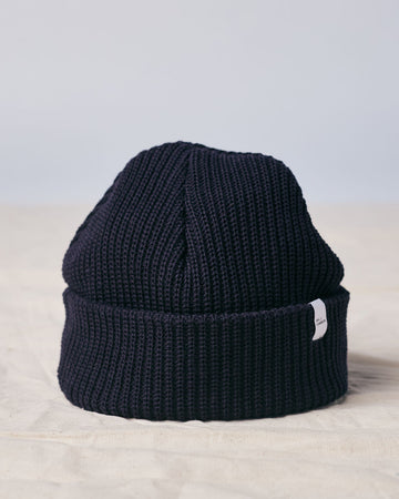 Cotton Knit Beanie - Navy