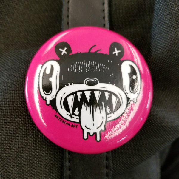 Drooly Bear Face - Pinback Button