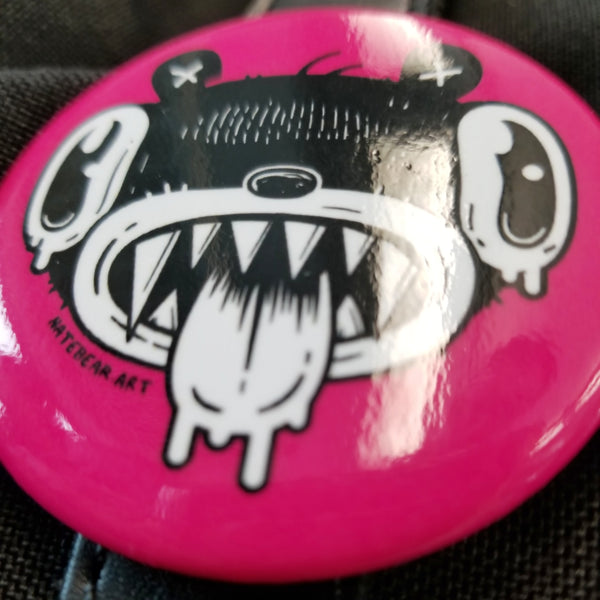 Drooly Bear Face Pinback Button