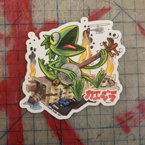 Frogzilla Banjo Jamboree Sticker - XL Vinyl Art Sticker