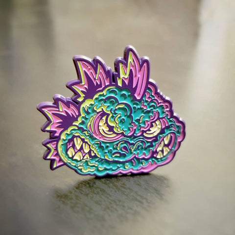 Zilla Kaiju Monster - Purple Metal Enamel Pin