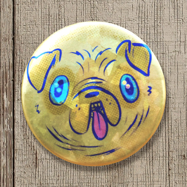 Pugly Face - Sparkly Pinback Button
