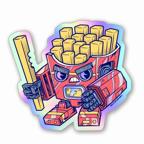 Fry-bot Holographic Vinyl Sticker