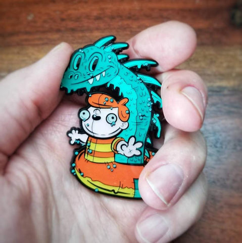 Nessie & Pool Floaty Boy - Limited Edition XL Hard Enamel Pin
