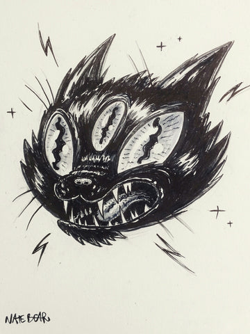 Black Cat Tattoo Flash Ink Drawing - Reproduction Art Print