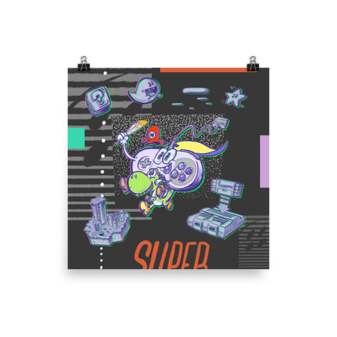 SNES Controller Retro Gaming - Art Print Poster