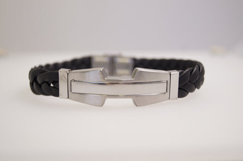 Mens leather engravable stainless steel bracelet
