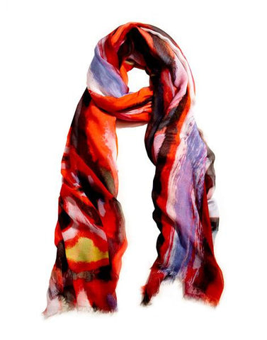 Crimson - Designer Silk Scarf by Sheila Johnson Collection