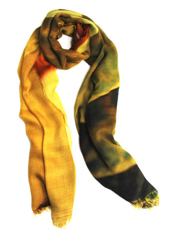 Golden Leaves - Designer Silk Scarf by Sheila Johnson Collection