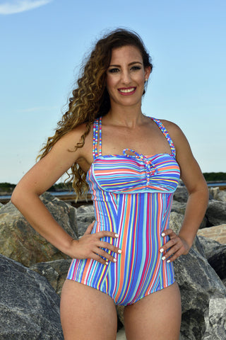 Swimsuit Shapewear with Powernet (Colorful Stripes)