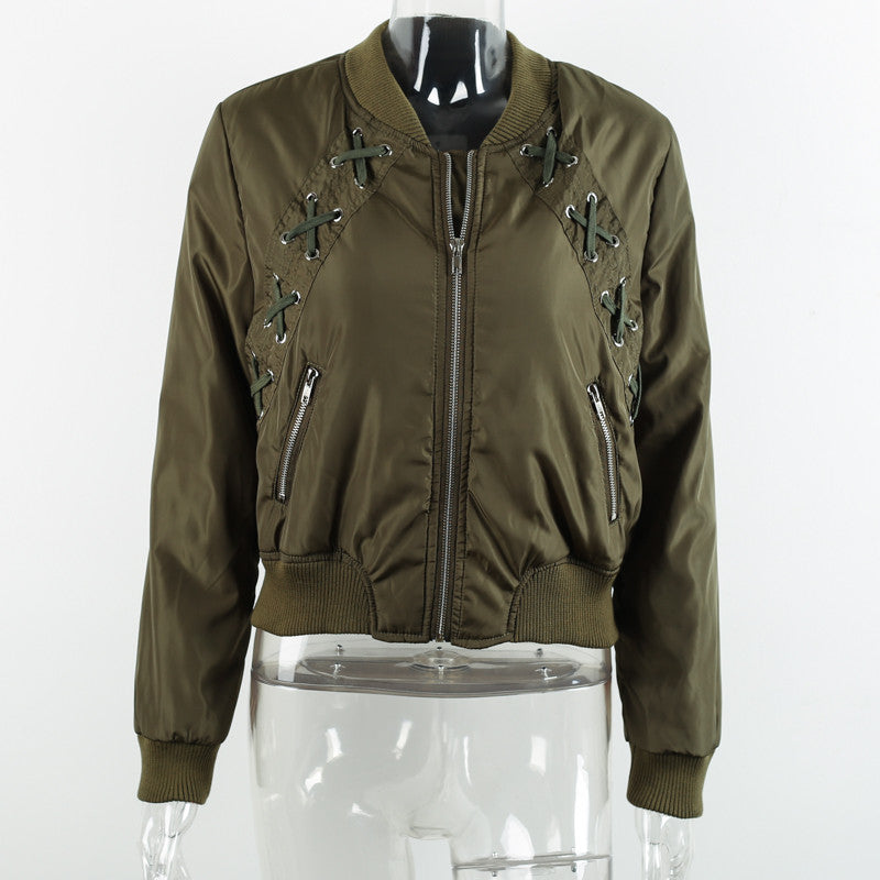 Naughty - lace up bomber jacket