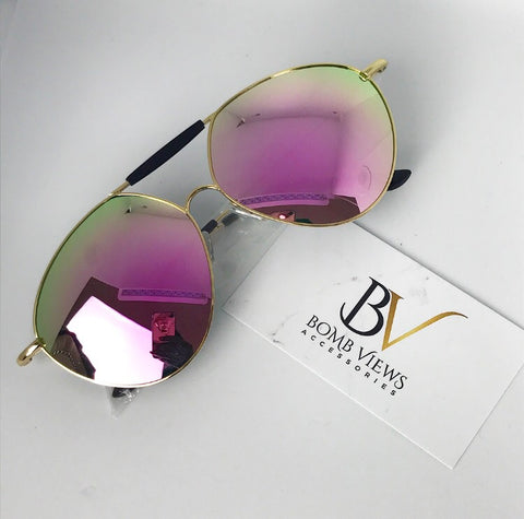 Wavy Rose Gold Sunglasses