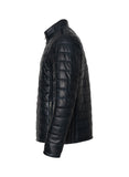 CARTER Navy Leather Puffer Jacket