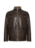 EDWARD-F Brown Leather Jacket with Faux Shearling Interior