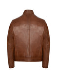 GUNNAR Cognac Contrasted Leather Jacket
