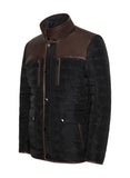 KANSAS Leather Trimmed Black Puffer Jacket