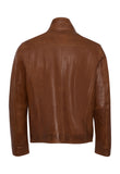 MALIK Cognac Double Collar Leather Jacket