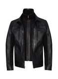 MEMPHIS-B Black Double Collar Leather Jacket