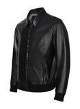 RANGEY-C Black Leather Bomber Jacket