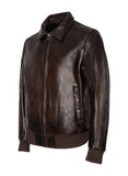 TRAIL Walnut Leather Bomber Jacket