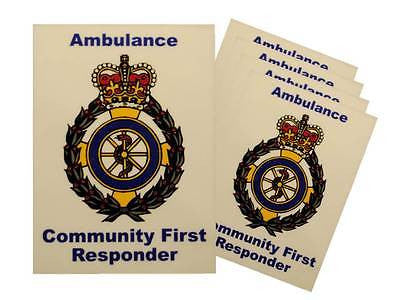 Ambulance Service Community First Responder Car Badges / Window Stickers