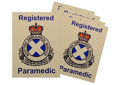 Scottish Ambulance Service Registered Paramedic Car Badges / Window Stickers