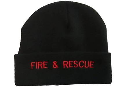 Fire & Rescue BLACK Woolly Beanie Hat (RED Text)
