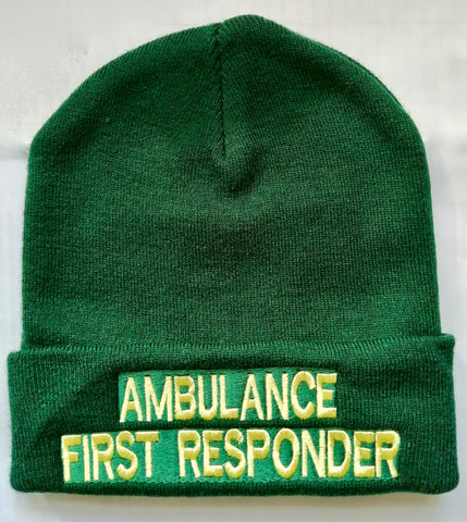 AMBULANCE FIRST RESPONDER Beanie / Woolly Hat (GREEN)