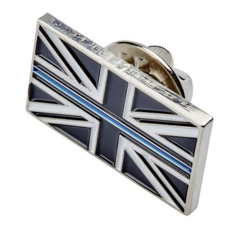 Thin Blue Line Union Jack Metal Tie Pin Lapel Badge