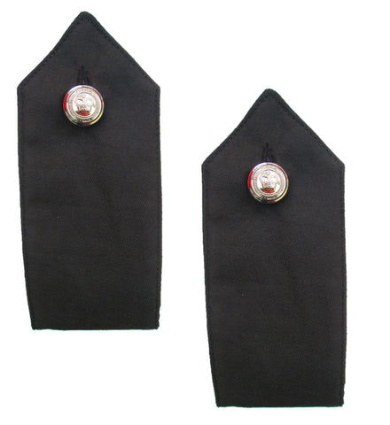 Black Police Met Style Chrome Button On Shirt Epaulettes