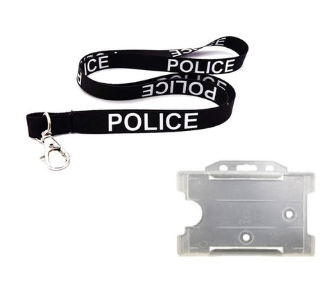 Black POLICE Lanyard with ID Holder