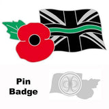Thin Green Line & Poppy Union Rememberance Tie Pin Lapel Badge