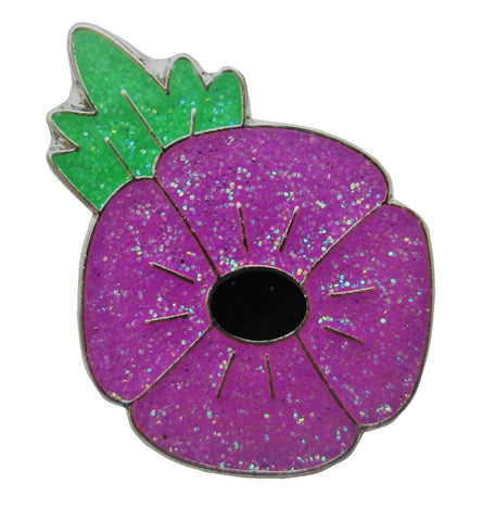 Animals in War Remembrance Purple Glitter Poppy Tie Pin / Lapel Badge