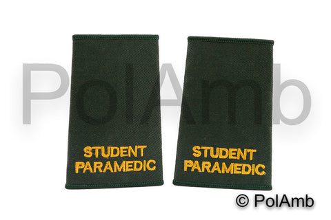 STUDENT PARAMEDIC Slider Epaulettes (Bottle Green)