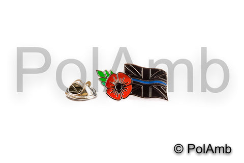 Thin Blue Line & Remembrance Poppy Mourning Tie Pin Lapel Badge