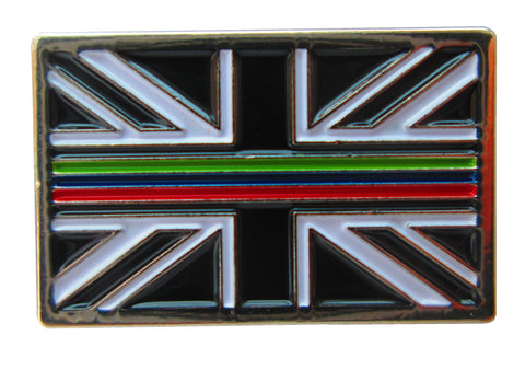 Thin Triple Blue Red Green Line Emergency Service Union Jack Metal Tie Pin Badge