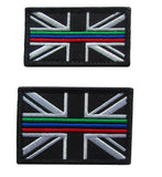 Thin Triple Blue Red Green Line Emergency Service Union Jack Velcro Backed Patch